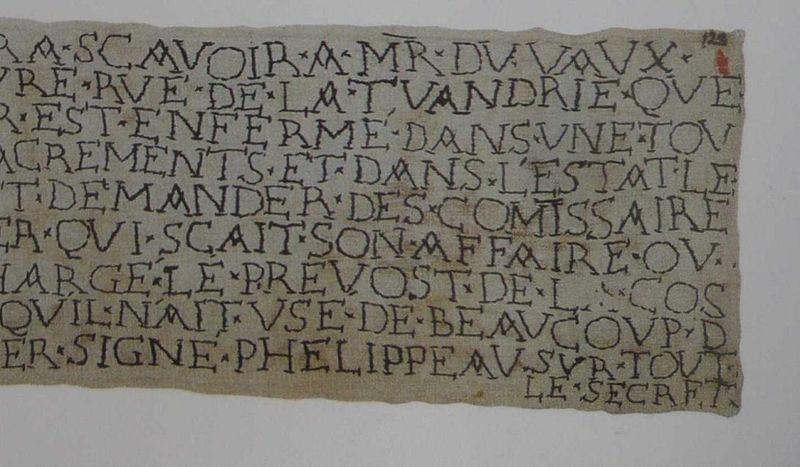 Lettre brodée par le prisonnier de la Bastille, 1700_ détail