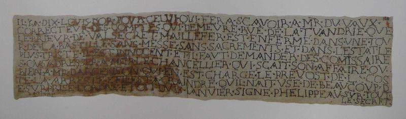 Lettre brodée par le prieur de Valsecret, prisonnier de la Bastille