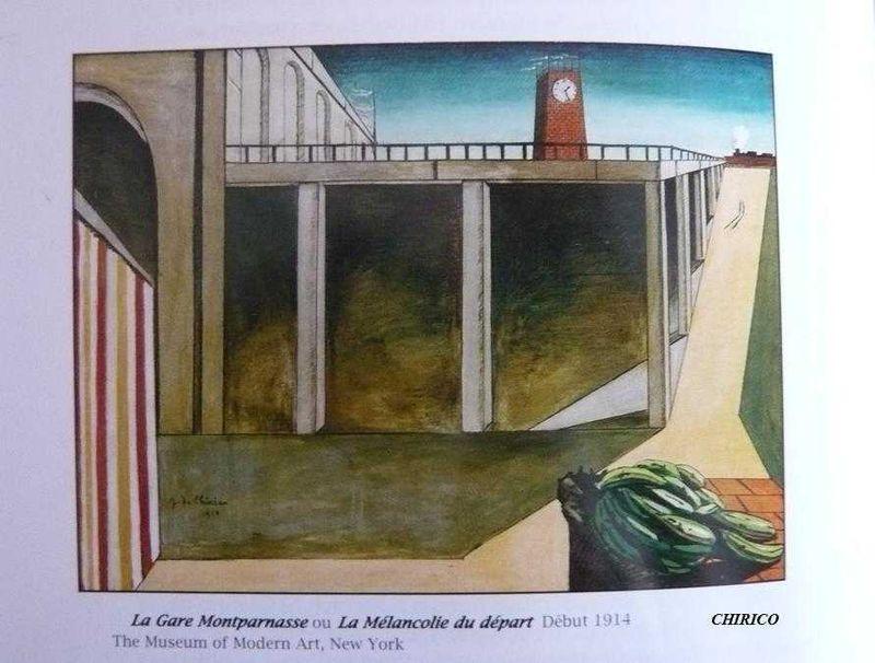 La Mélancolie du départ_ La Gare Montparnasse_CHIRICO, 1914