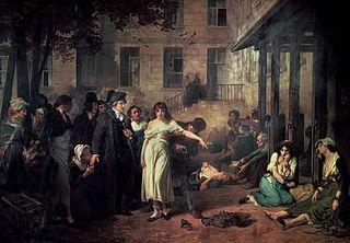 PINEL délivrant les aliénés à la Salpêtrière en 1795 par Tony Robert-Fleury