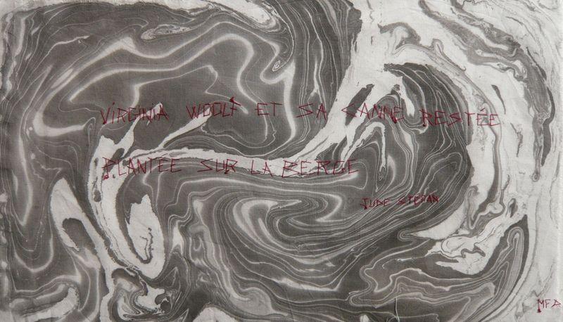 LITANIES DU SCRIBE_Jude Stéfan_ écriture sur Suminagashi_ mfd, 2001