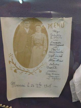 MENU de noce 1908