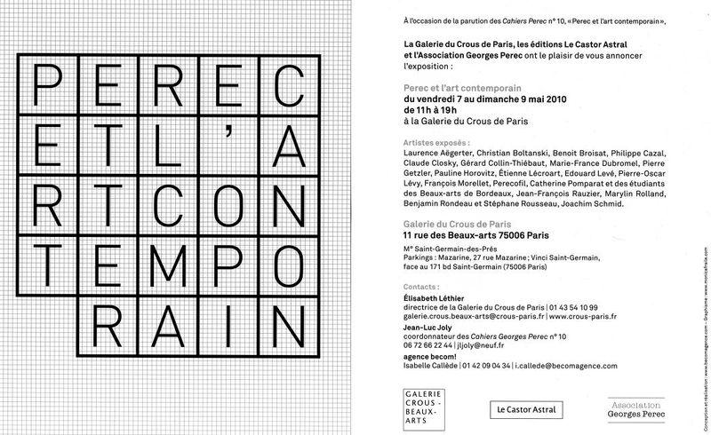 PEREC et l'at contemporain_ galerie CROUS 2010