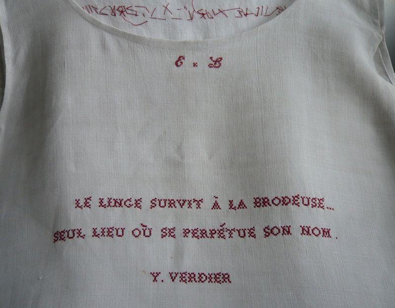Texte Yvonne VERDIER_Point de marque sur chemise de lin, mfd Dubromel, 2001