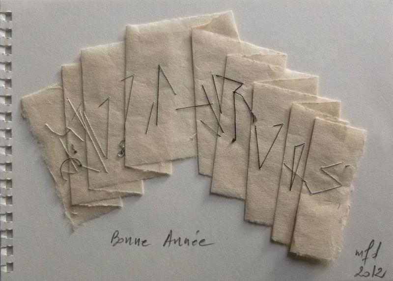 Bonne Année 2012_ Ecriture inversée sur papier CHINE, plié_mfd