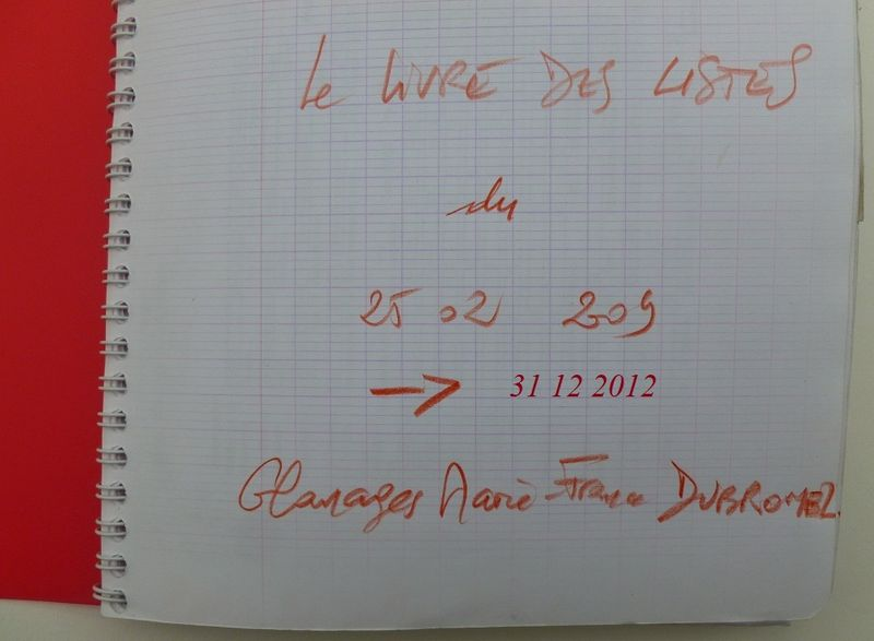 LE LIVRE DES LISTES 2009-2012. Glanages, mf Dubromel
