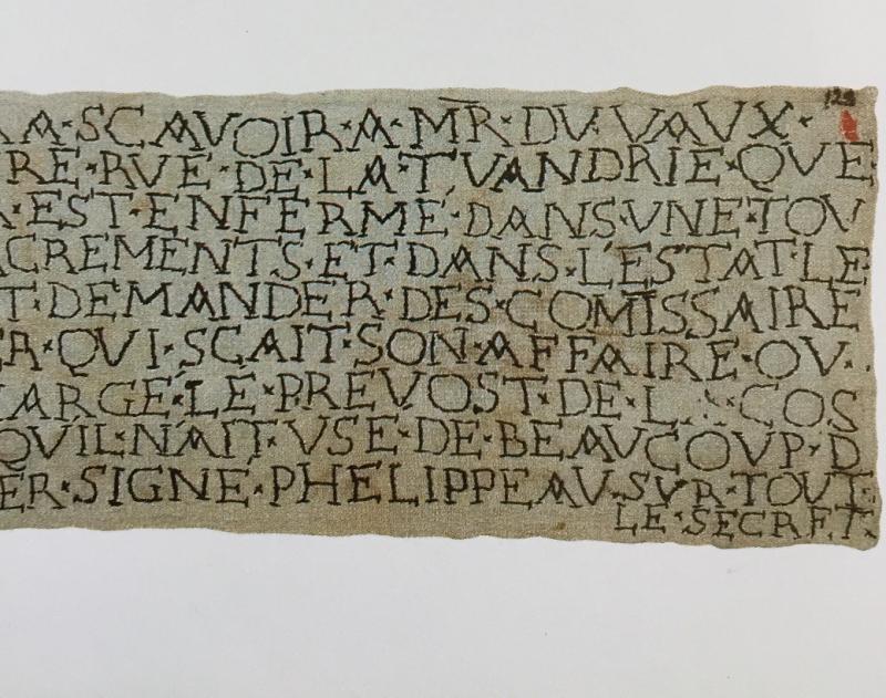 Lettre brodée par le  Prieur de Valsecret, prisonnier de la Bastille. 1700 ( détail)