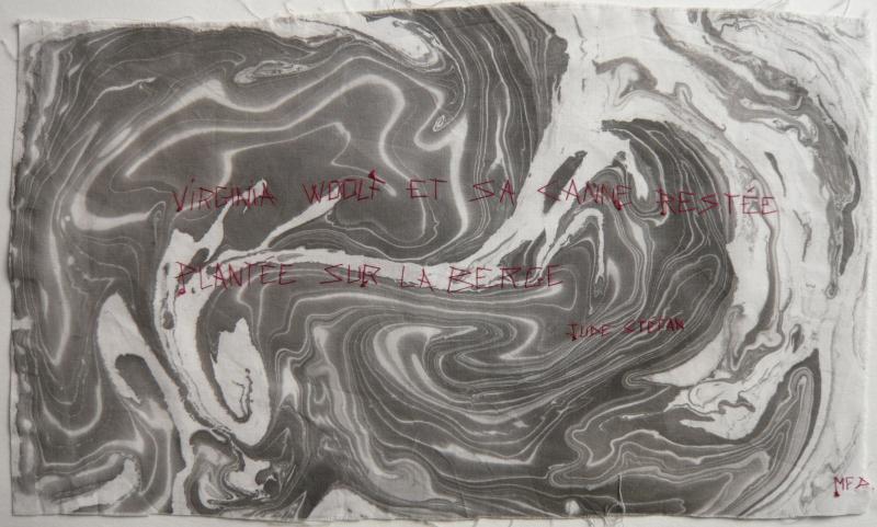 Litanies du SCRIBE_Jude Stéfan_Marquage de blanchisserie  mfd  sur encre flottante 2001_45 X 25cm