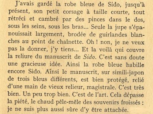 COLETTE La robe bleue de SIDO ( L'Etoile Vesper)